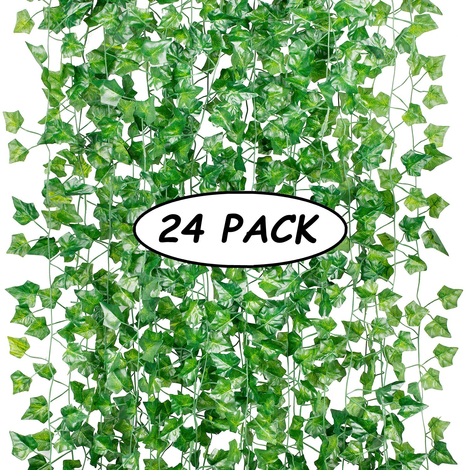 24 Pack (Each 82inch) (Total 160 Feet) Artificial Ivy Greenery Fake Hanging Vine Plants Leaf Garland Hanging for Wedding Party Garden Outdoor Greenery Office Kitchen Home Wall Decoration