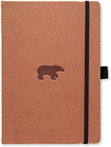 Dingbats Wildlife Medium A5+ Hardcover Notebook - PU Leather, Micro-Perforated 100gsm Cream Pages, Inner Pocket, Elastic Closure, Pen Holder, Bookmark (Lined, Brown Bear)