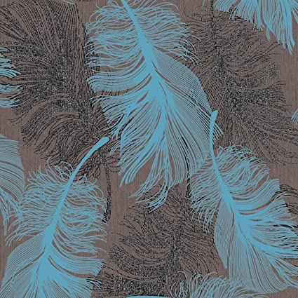 Chocolate Brown and Teal Feather Wallpaper Silver Glitter by Coloroll M0961