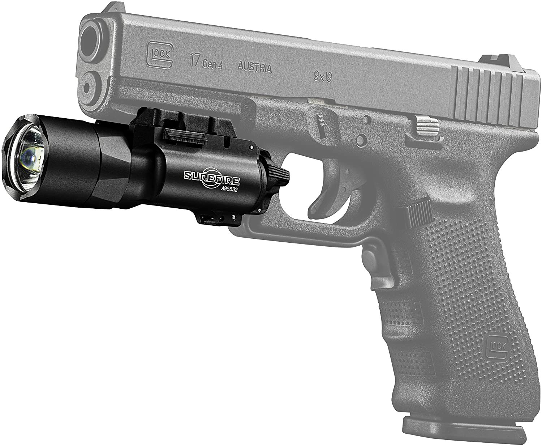 Image of a Surefire pistol light attached to a pistol gun.