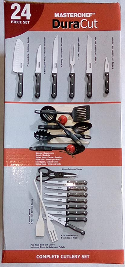 Amazon.com: Masterchef Duracut 24 Piece Kitchen Knife Set ...