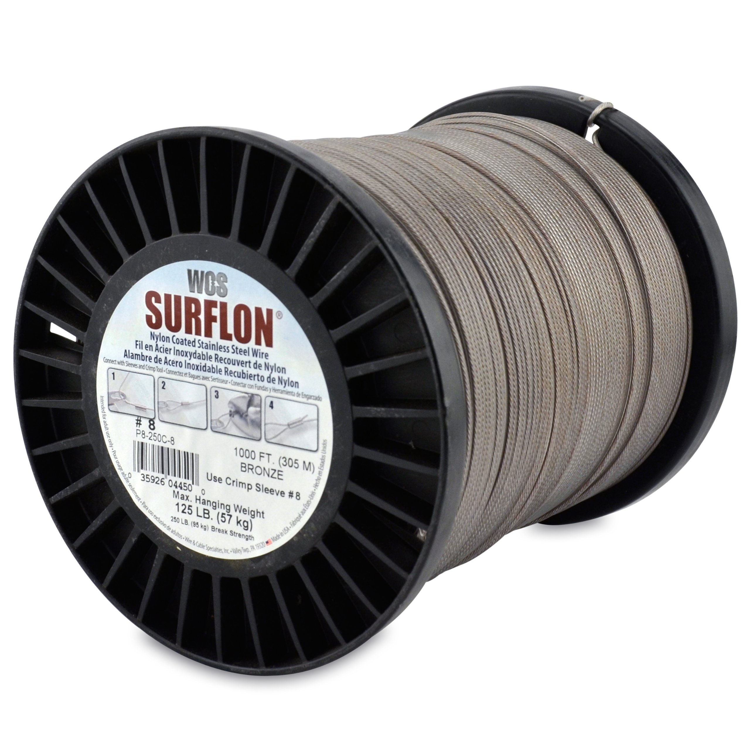Surflon Size 8 - 125-Pound Break 1000-Feet Crimping Picture Wire Nylon Coated Stainless Steel Bronze