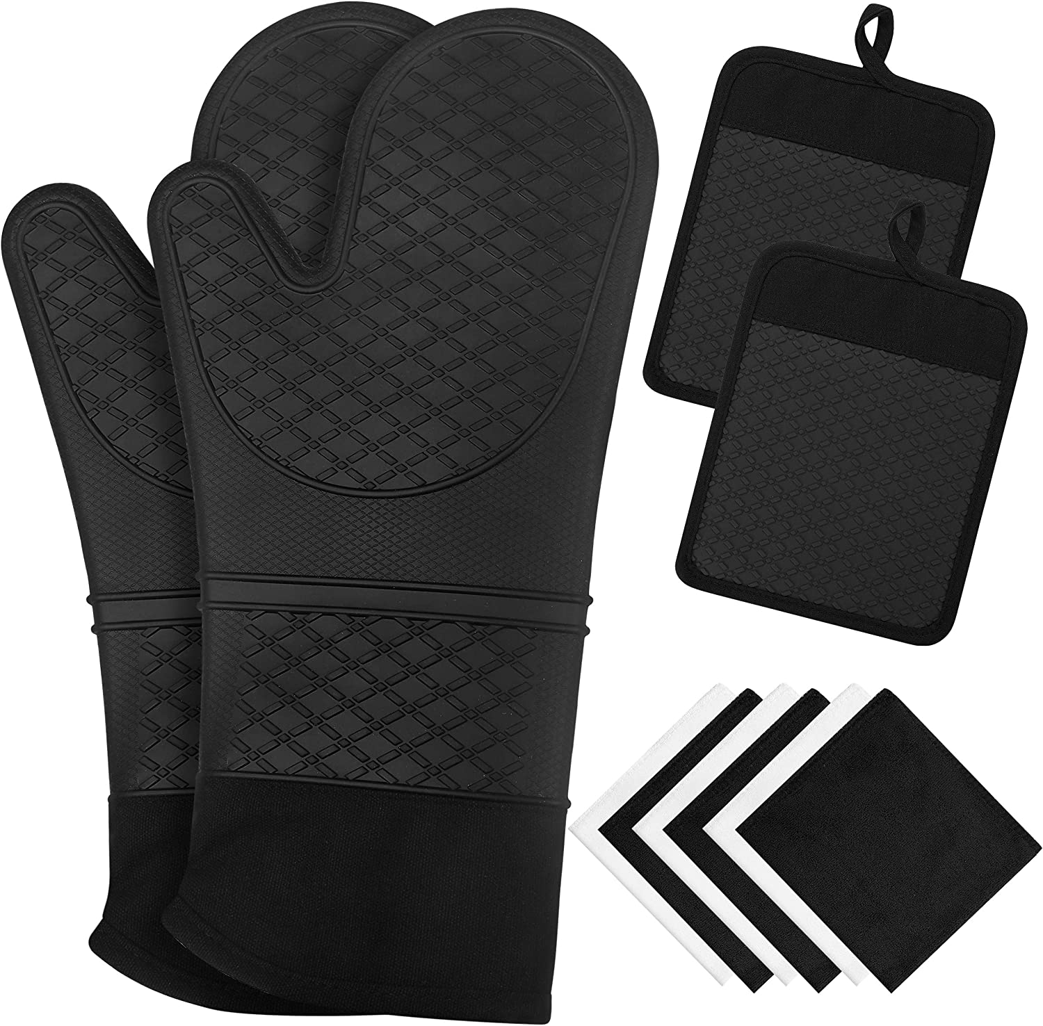10 Pcs Silicone Oven Mitts and Pot Holders, 450℉ Heat Resistant Oven Mitts with Kitchen Towels Soft Cotton Lining and Non-Slip Surface Safe for Baking, Cooking, BBQ