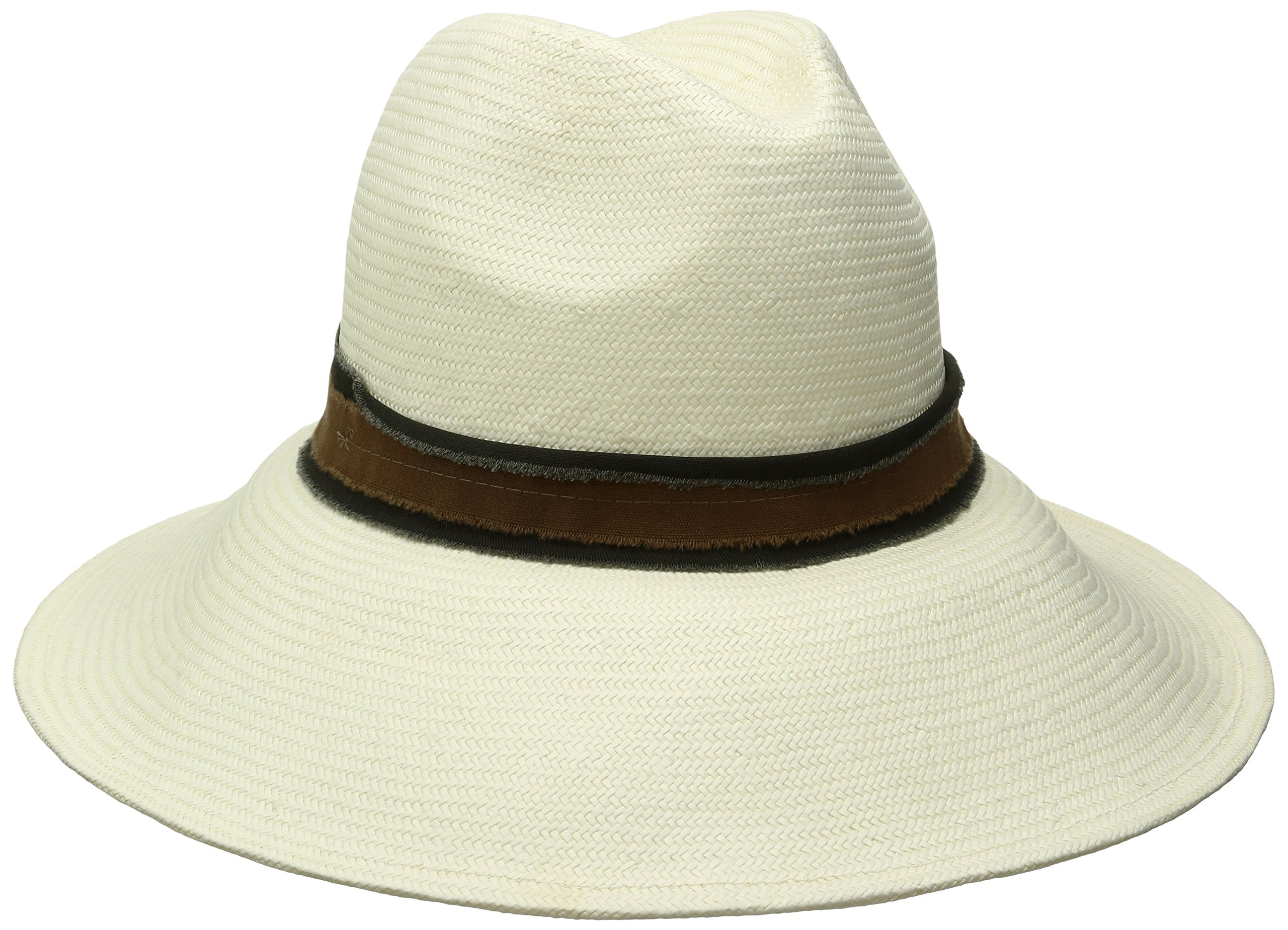 ale by Alessandra Women's Grosvenor Fine Panama Hat With Two-Tone Canvas Trim, Ivory/Hunter, One Size