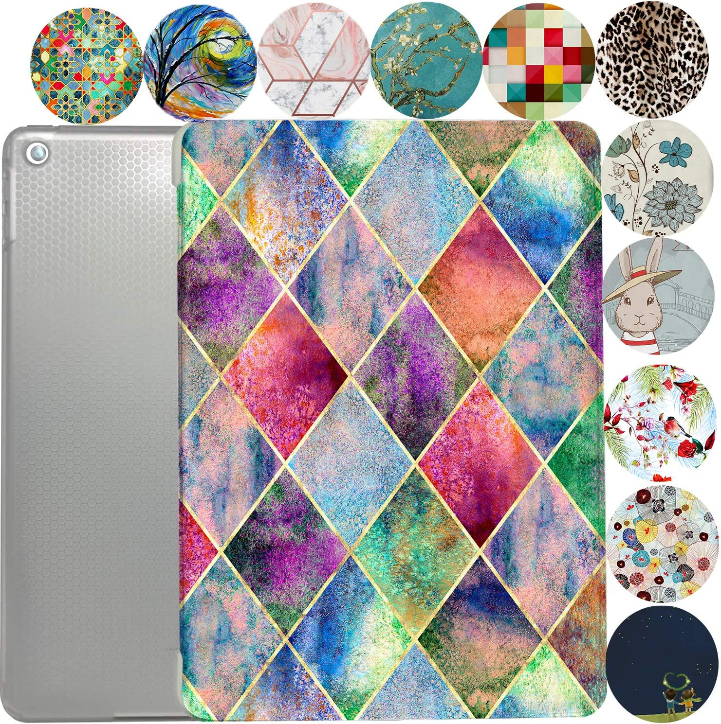 """iPad 9.7 Case 2013 iPad Air 1st Generation Slim Smart Protective Cover with Soft TPU Honeycomb Clear Back & Viewing/Typing Stand for iPad 9.7"""" Air 1 Gen Auto Sleep/Wake Printed- Diamond Grid"""