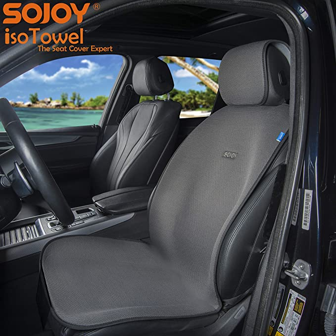 Grey Microfiber Seat Protector All-Weather No-Slip Technology with Quick-Dry Sojoy IsoTowel Car Seat Cover Car seat Protection for All Workouts