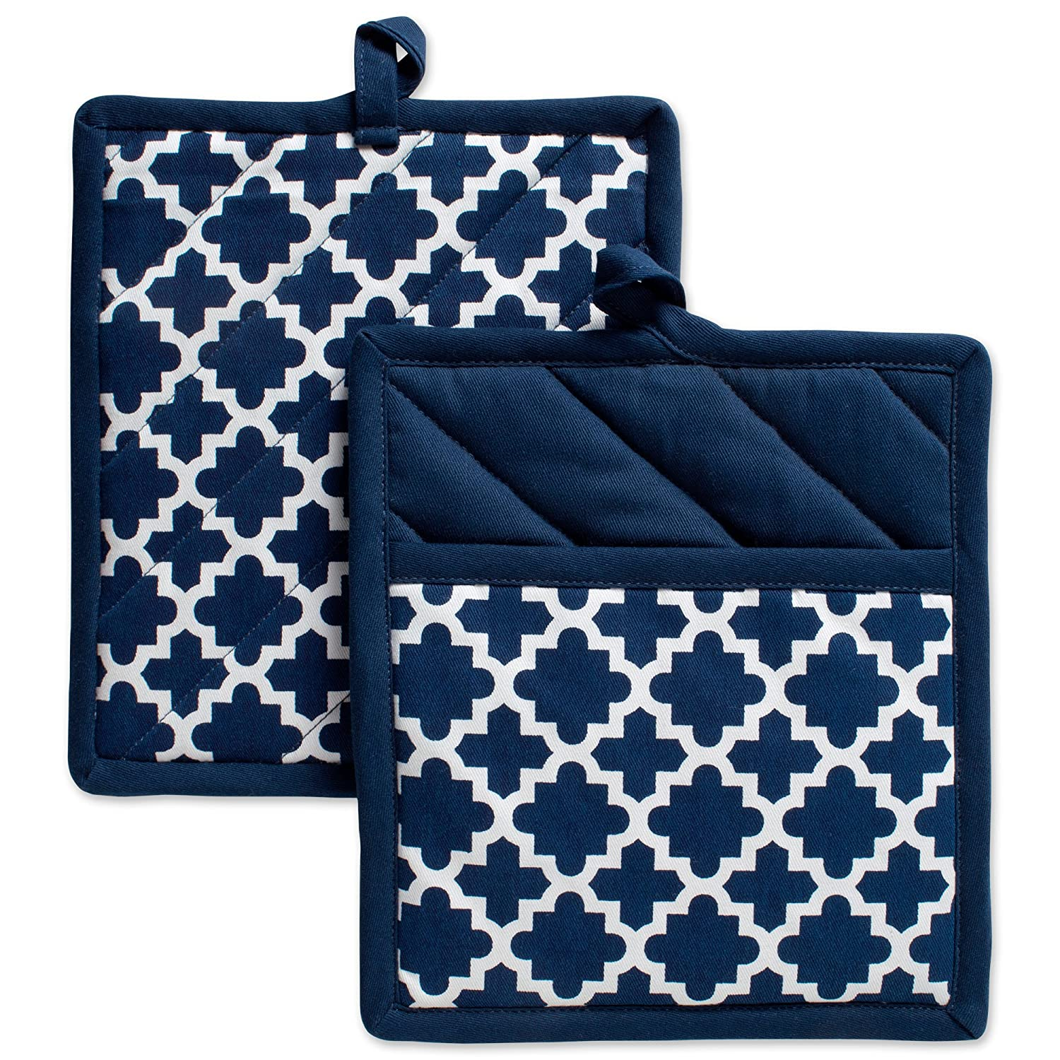 "DII Cotton Lattice Pot Holders, 9 x 8"" Set of 2, Machine Washable and Heat Resistant Hot Pad for Everyday Kitchen Cooking & Baking-Nautical Blue"