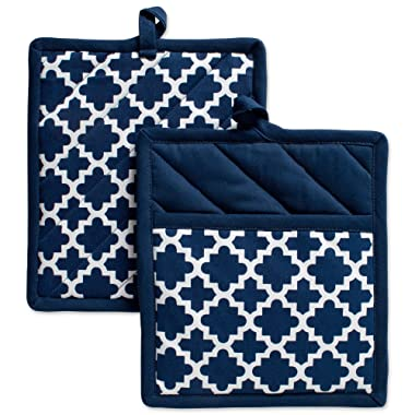 DII Cotton Lattice Pot Holders, 9 x 8  Set of 2, Machine Washable and Heat Resistant Hot Pad for Everyday Kitchen Cooking & Baking-Nautical Blue