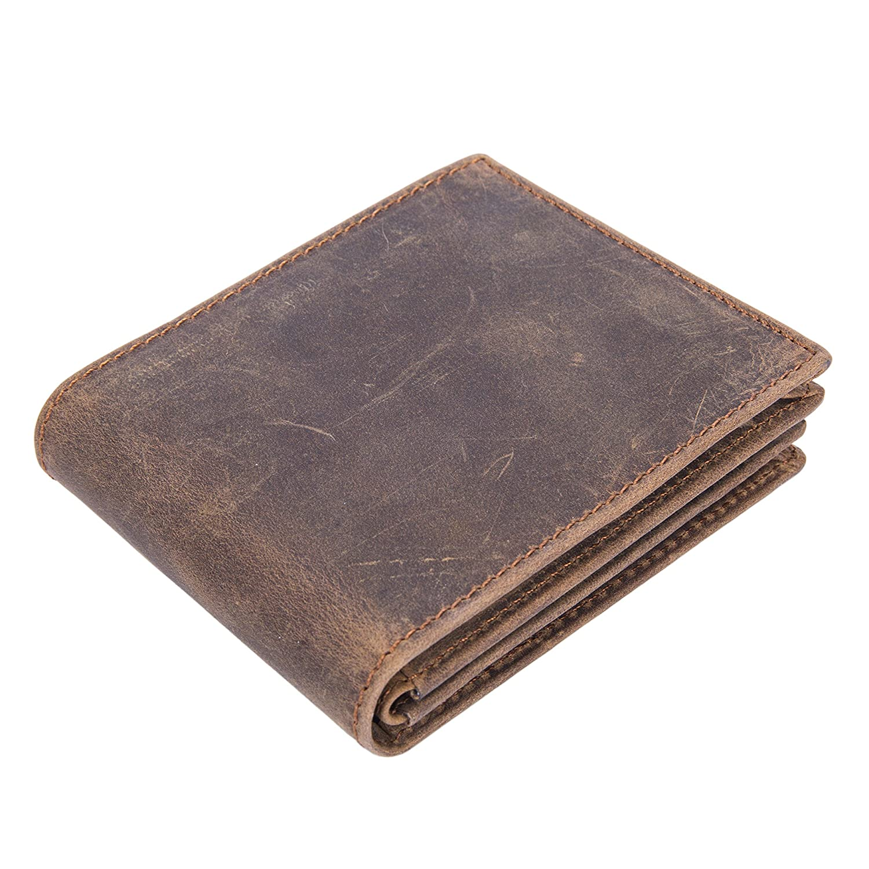 BAIGIO Men's Vintage Genuine Leather Wallet with Card Case 5961945-CA
