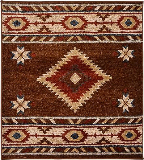 Amazon Com Nevita Collection Southwestern Native American Design Area Rug Rugs Geometric Brown 3 X 3 Kitchen Dining