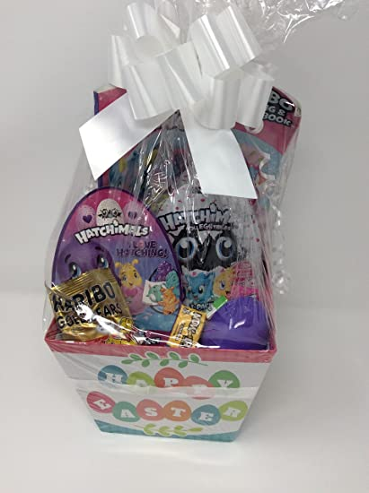 Amazon happy easter basket girls boys kids toddlers gift happy easter basket girls boys kids toddlers gift children pre made eggs egg goodies candy puzzle negle Images