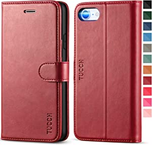 TUCCH iPhone SE 2020 Case, iPhone 8 Wallet Case, Premium PU Leather iPhone 7 Folio Case with Stand Card Slot Magnetic Closure Flip Cover [TPU Interior Case] Compatible with iPhone SE2/8/7, Dark Red