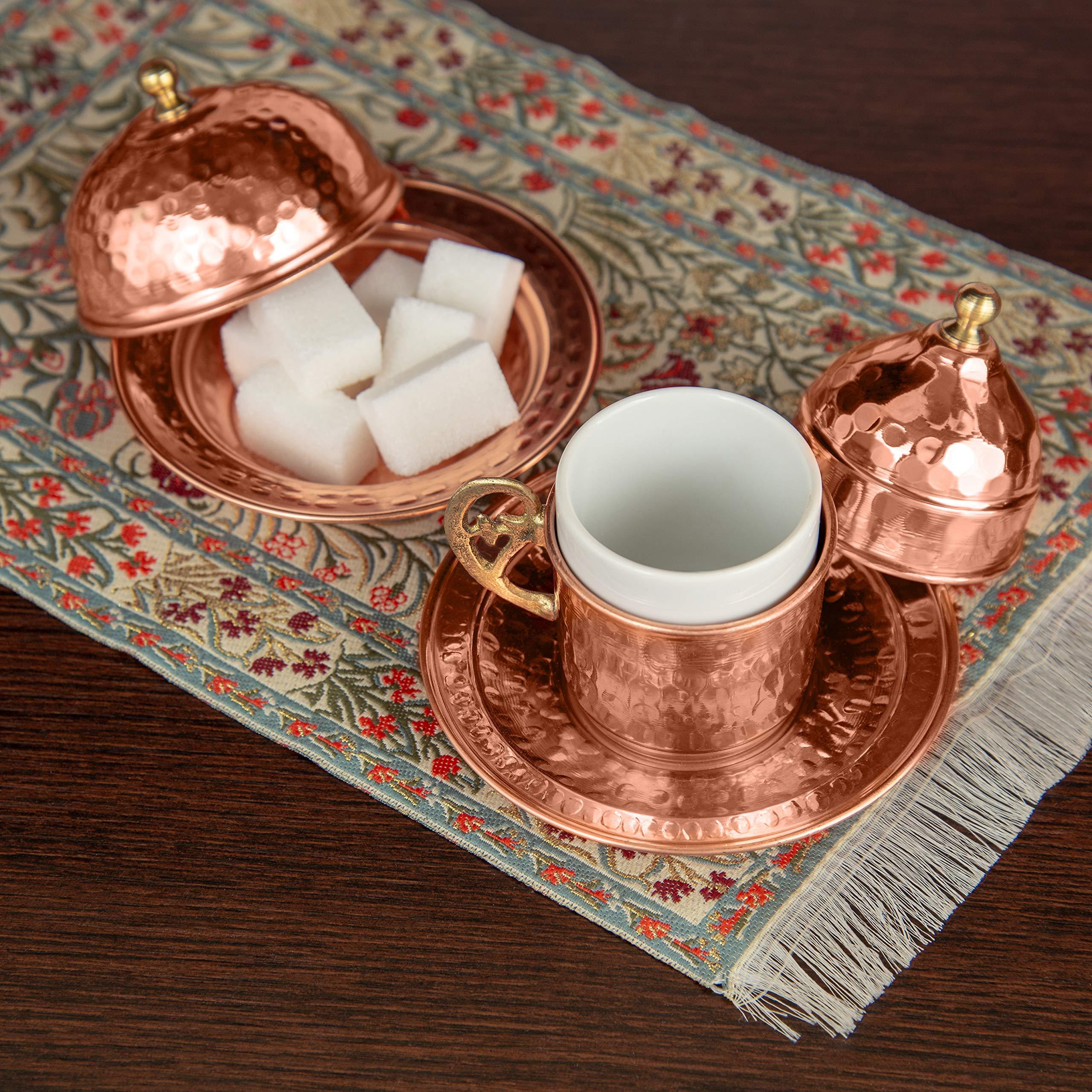 Copper Turkish Coffee Set, Two, Greek Armenian Arabic Espresso Porcelain Cups, Tray & Cezve by Mandalina Magic by Mandalina Magic (Image #8)