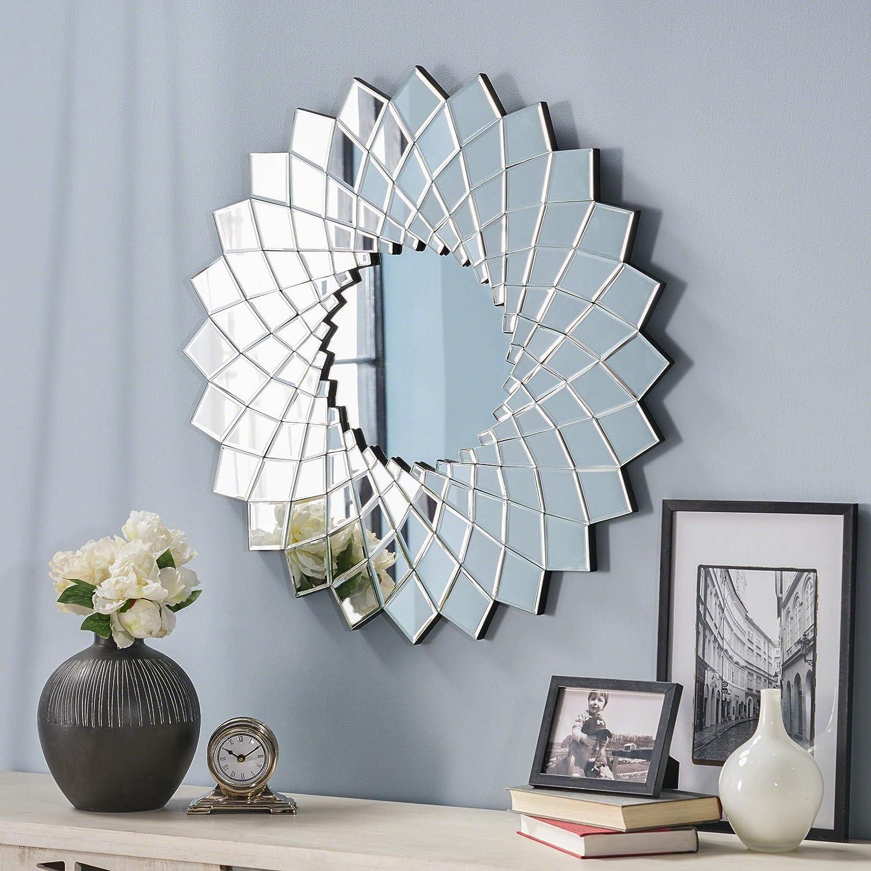 Great Deal Furniture 304282 Lilith Glam Sunburst Wall Mirror, Clear