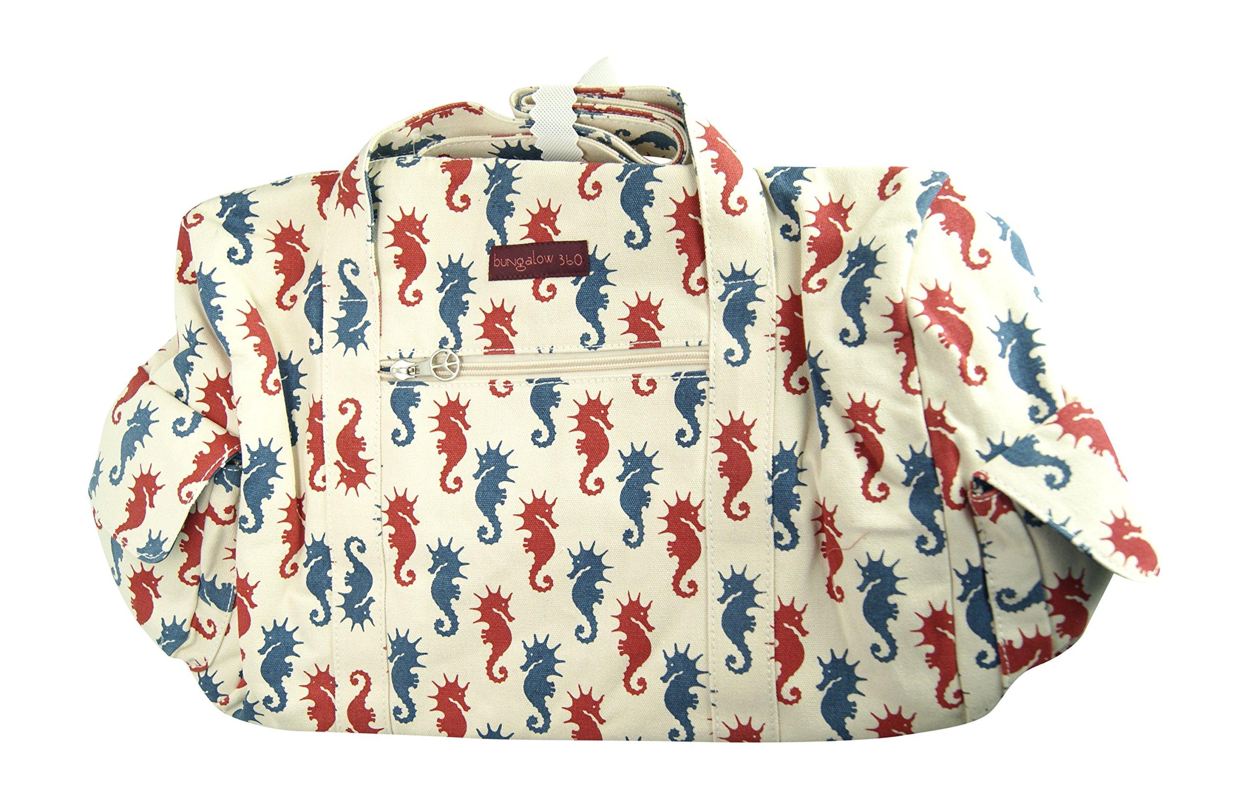 Bungalow360 Vegan Cotton Canvas Duffle Gym Bag (Seahorse)