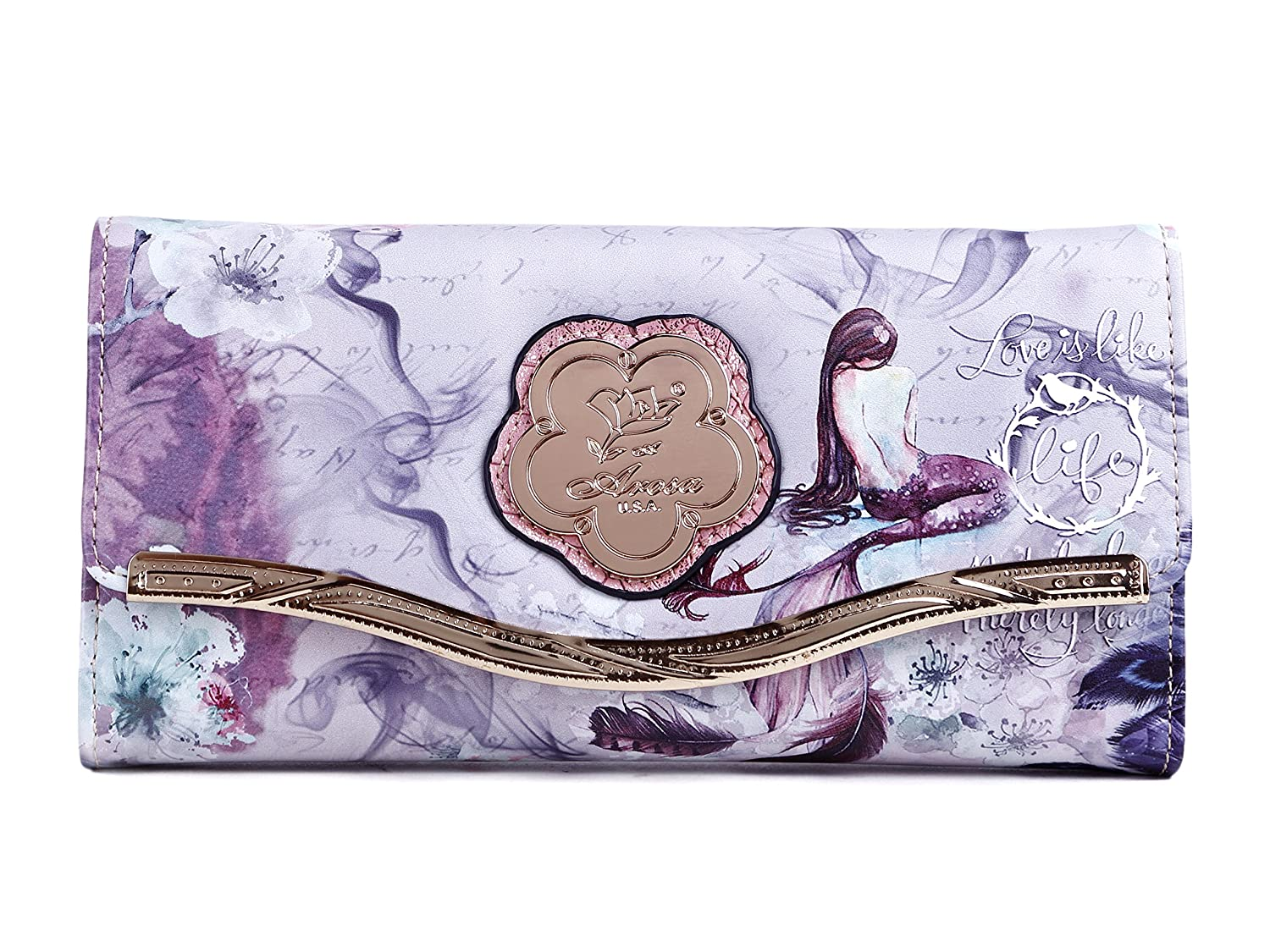 Arosa USA Princess Mermaid Women's Floral Vegan Leather Wallet