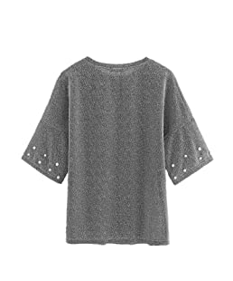 Romwe Women's Letter Printed Drop Shoulder Pearl Beading Glitter T-Shirt Top Silver XS