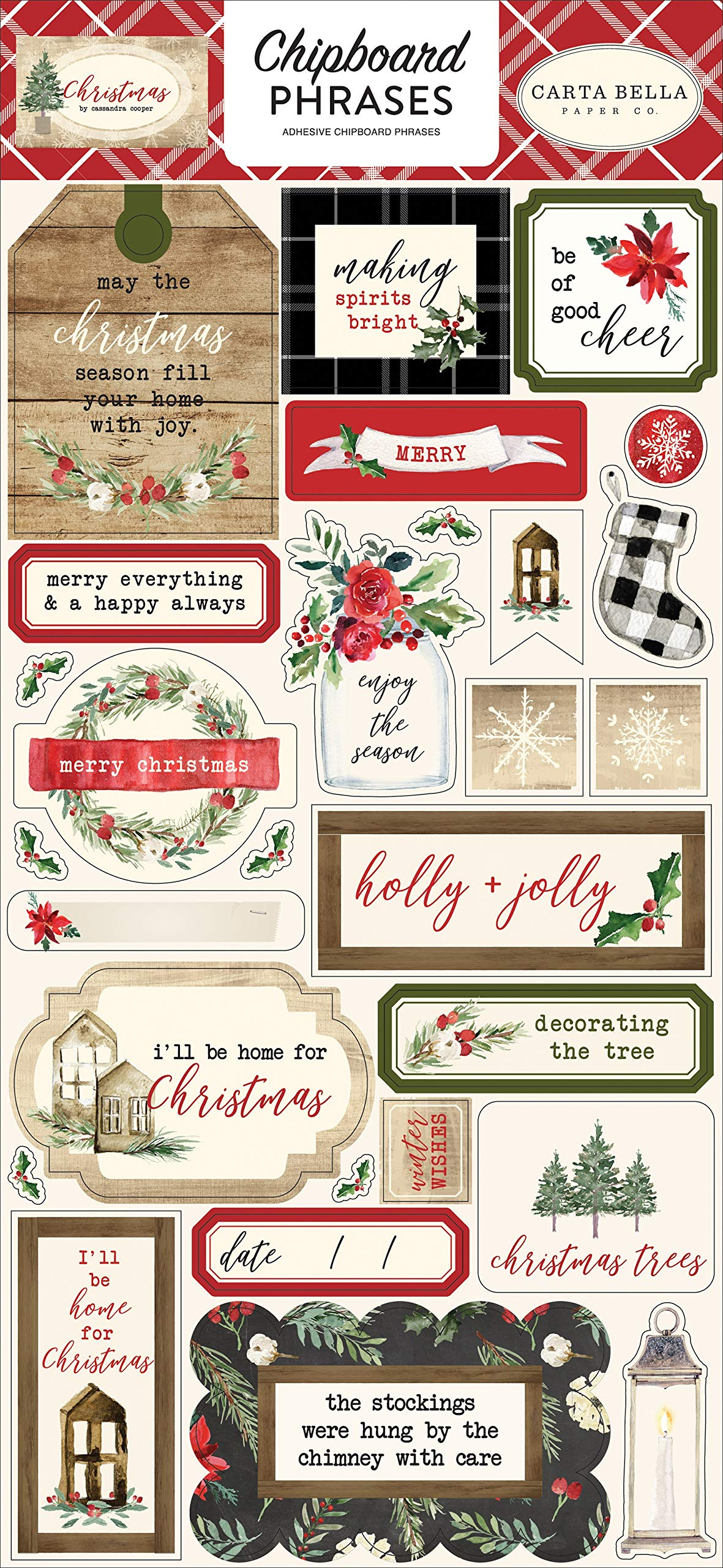 Carta Bella Paper Company CBCH89022 Christmas 6x12 Phrases chipboard Red/Green/Black/Tan