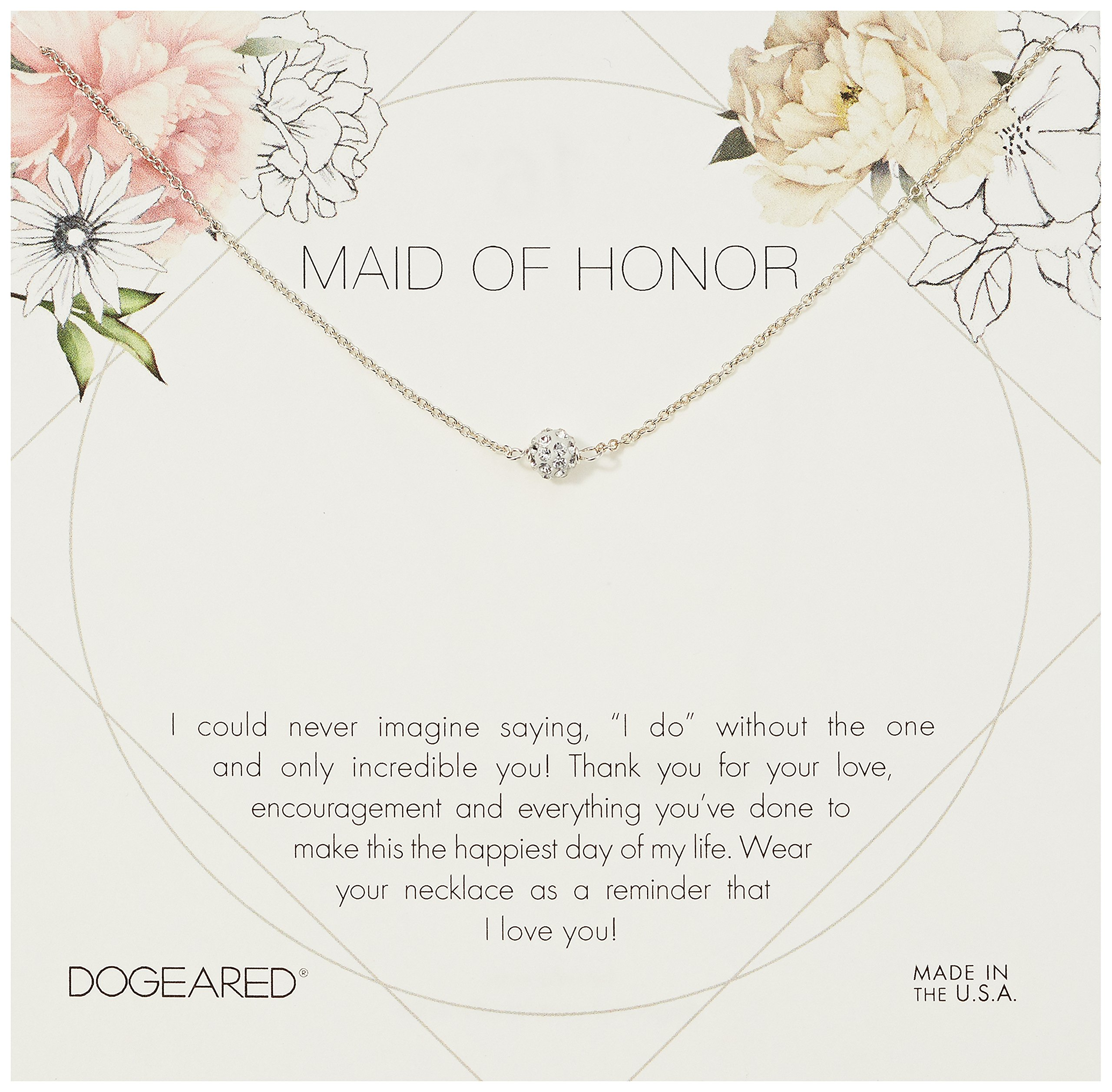 Dogeared Maid Of Honor Flower Card Pave Sparkle Chain Necklace, Sterling Silver, 16'' + 2'' Extension