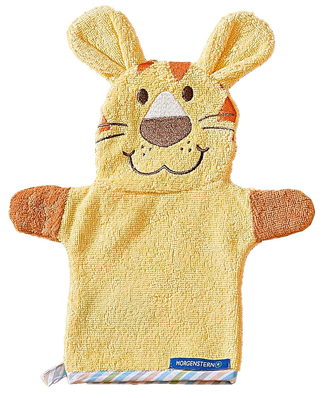 Morgenstern Frottee Babywaschlappen Baby Handpuppe mit Tier Motiv L/öwe in Gelb