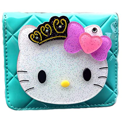 0c72d944d Amazon.com: Hello Kitty Small Wallet Bottom Zip Fold Blue Coin Wallet with  Mirror