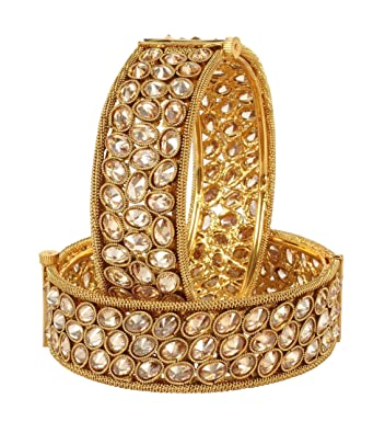 Learned Traditional Ethnic Goldtone 2pc Bangle Set Women Bracelet Indian Party Jewellery Jewellery & Watches