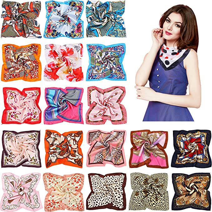 Mixed Designs Neck Head Scarf 19.7 x 19.7 inches Small Square Pure Cotton Scarf for Women