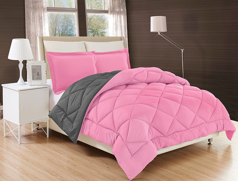 Elegant Comfort All Season Comforter and Year Round Medium Weight Super Soft Down Alternative Reversible 2-Piece Comforter Set, Twin/Twin XL, Pink/Gray