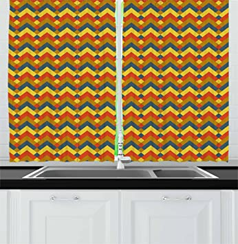 Ordinaire Chevron Kitchen Curtains By Lunarable, Retro Geometric Rhombus And Zigzag  Pattern Colorful Abstract Modern Expressionist