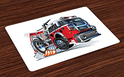 Lunarable Fire Truck Place Mats Set of 4, Cartoon Vehicle with Powerful Engine Riding to