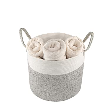 Asetena Large Cotton Floor Storage Basket 14  x 17 | Designer Style Home Décor | Big Fabric Organizer Bin Blankets, Towels, Toys Laundry Hamper | Baby's Nursery, Bathroom Living Room