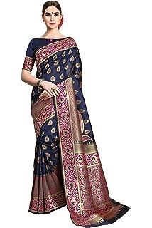 02763e8316187 Soru Fashion Women s Banarasi Soft Silk Saree with Blouse Piece  (Cott-766 Dark Blue)