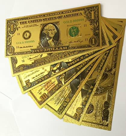 Gold Bank Note Set of 7 24kt Gold Foil  999 $1, $2, $5, $10, $20, $50 and  $100 in Decorative Envelope
