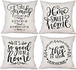 Bonsai Tree Farmhouse Throw Pillow Covers 18x18, Family Sayings Quotes Decorative Couch Pillow Covers Set of 4, This is Us Home Sweet Home Linen Cushion Cases Home Decor for Living Room Outdoor Sofa