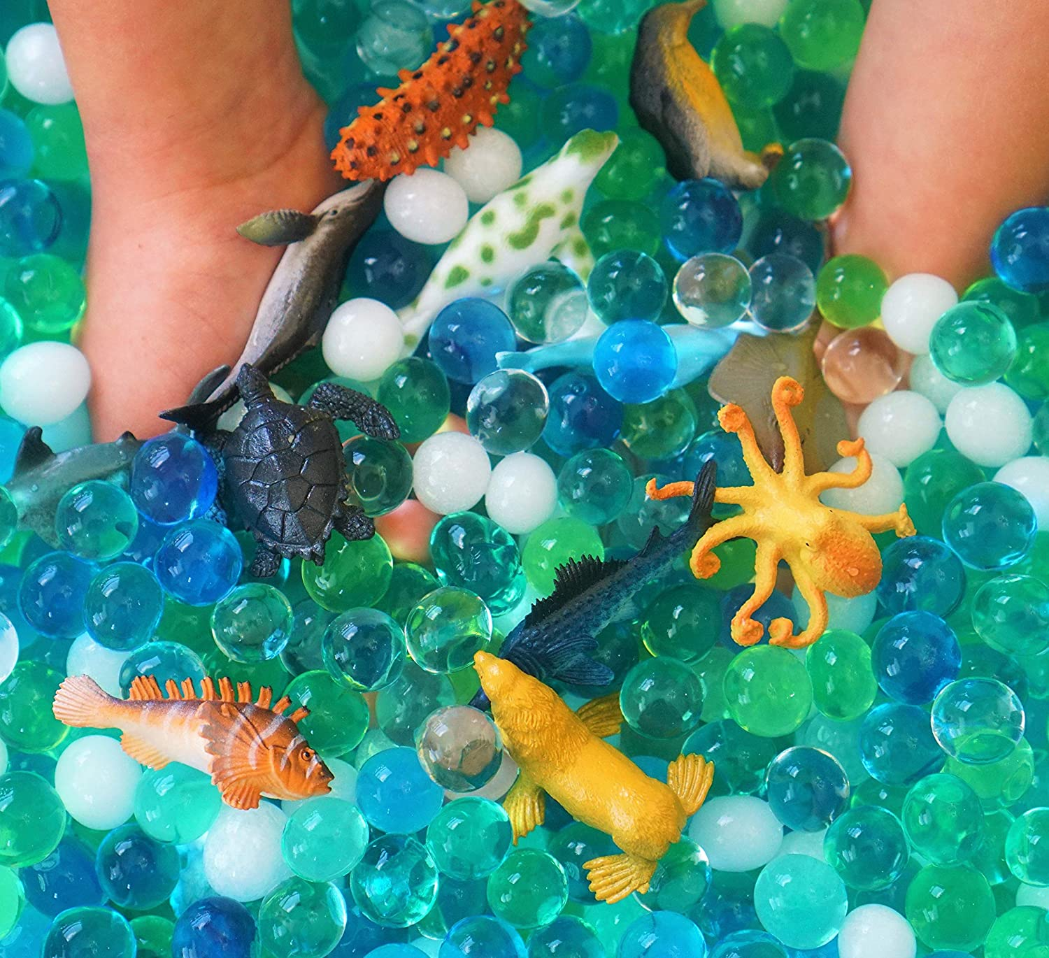 Dew Drops Water Beads Ocean Explorers Tactile Sensory Kit Sea Animal Creatures Included Great Fine Motor Skills Toy for Kids