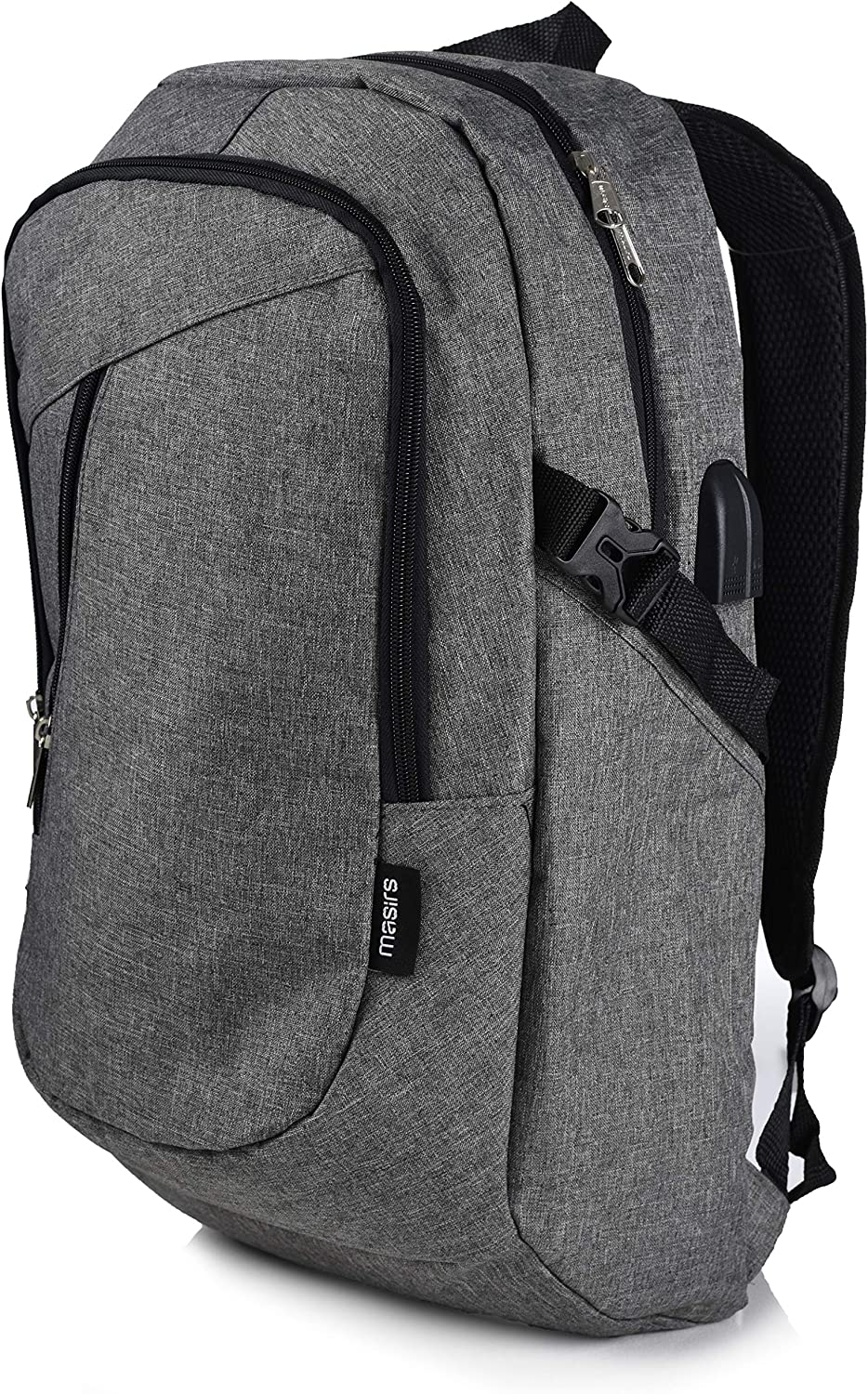 Laptop Travel Backpack – Adjustable Shoulder Straps, Zippered Compartments with Side Pockets for Water Bottle or Umbrella. Headset and USB Charging Port. Perfect for School, Business or Traveling.
