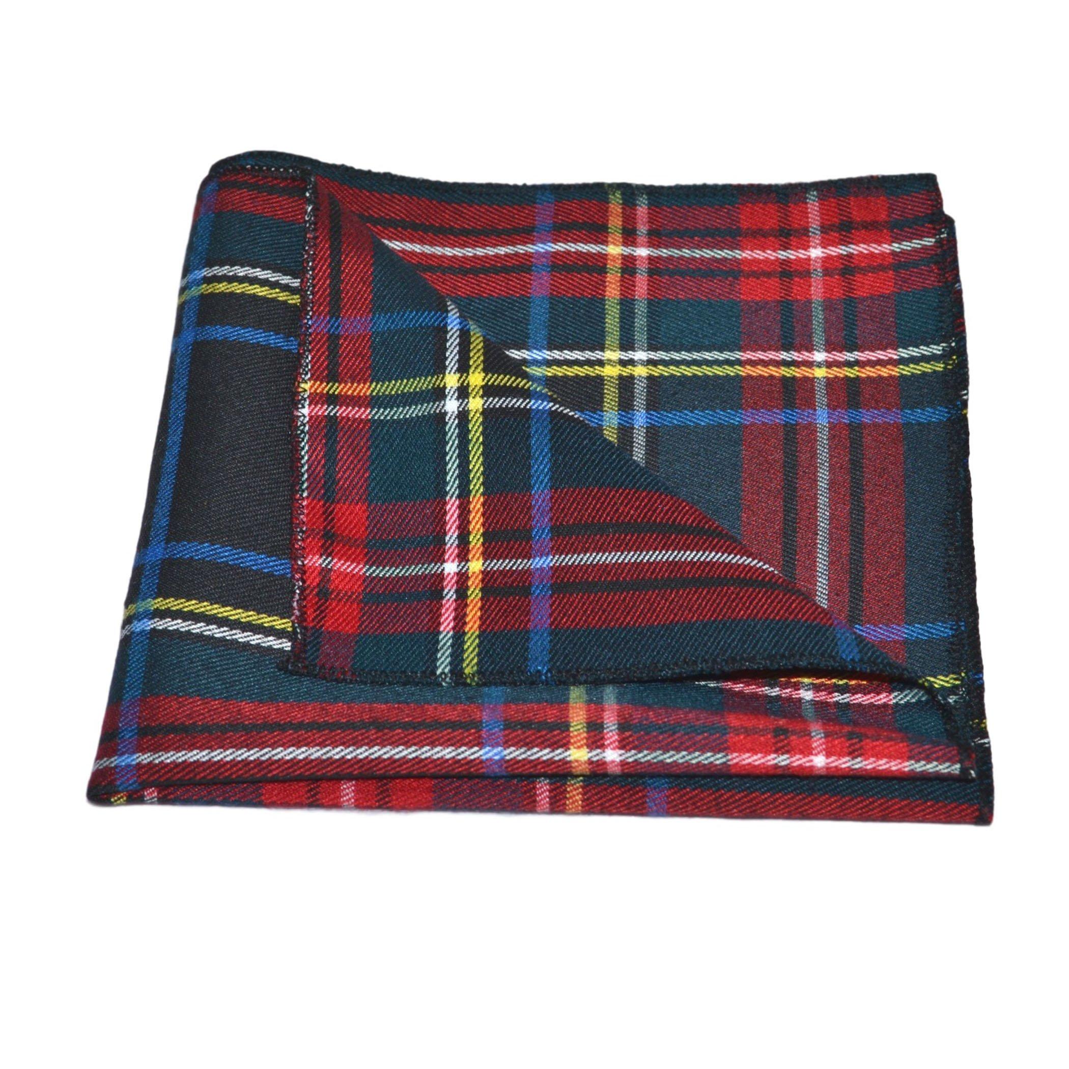 Traditional Dark Green & Black Tartan Pocket Square, Handkerchief, Check, Plaid