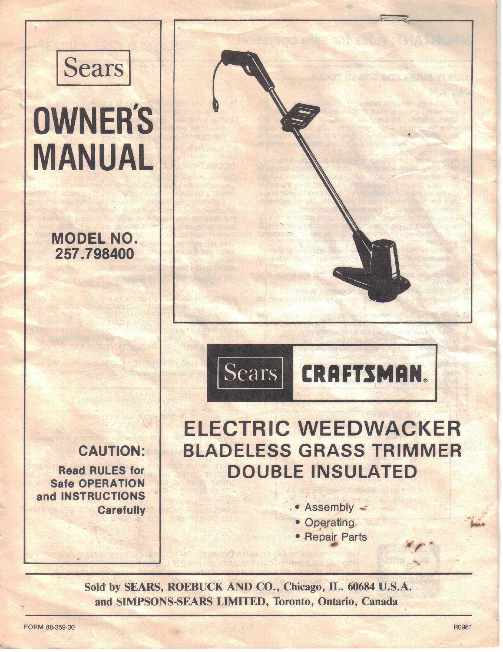 sears craftsman electric weedwacker bladeless grass trimmer rh amazon com Craftsman 4 Cycle Weed Trimmer Craftsman Electric Corded Grass Trimmers