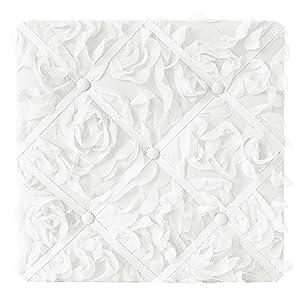 Sweet Jojo Designs White Floral Rose Fabric Memory Memo Photo Bulletin Board - Solid Flower Luxurious Elegant Princess Vintage Boho Shabby Chic Luxury Glam High End Roses