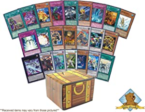 200 Yugioh Cards! Featuring A Mix of 50 Rares and Holos! Includes Golden Groundhog Treasure Chest Storage Box!