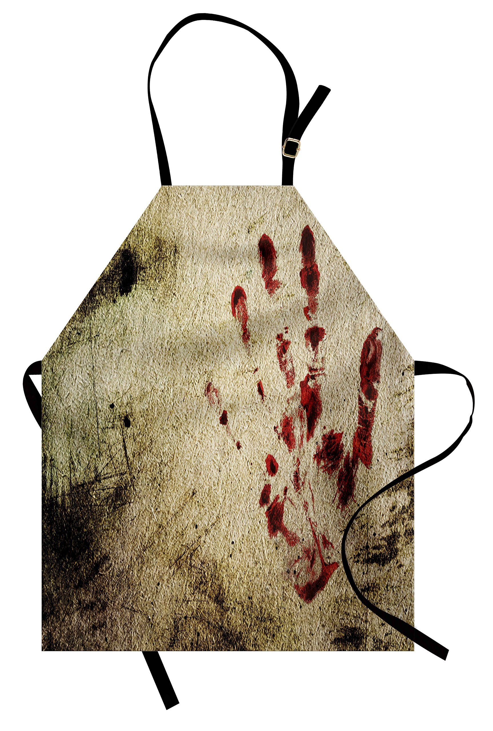 Ambesonne Horror House Apron by, Grunge Dirty Wall with Bloody Hand Print Murky Palm Trace Victim Violence Print, Unisex Kitchen Bib Apron with Adjustable Neck for Cooking Baking Gardening, Red Beige