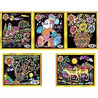 "Asian Hobby Crafts Emboss Painting Kit : 16"" X 22"" (40 x 56 cm) Velvet Cloth: Pack of 5 Paintings"