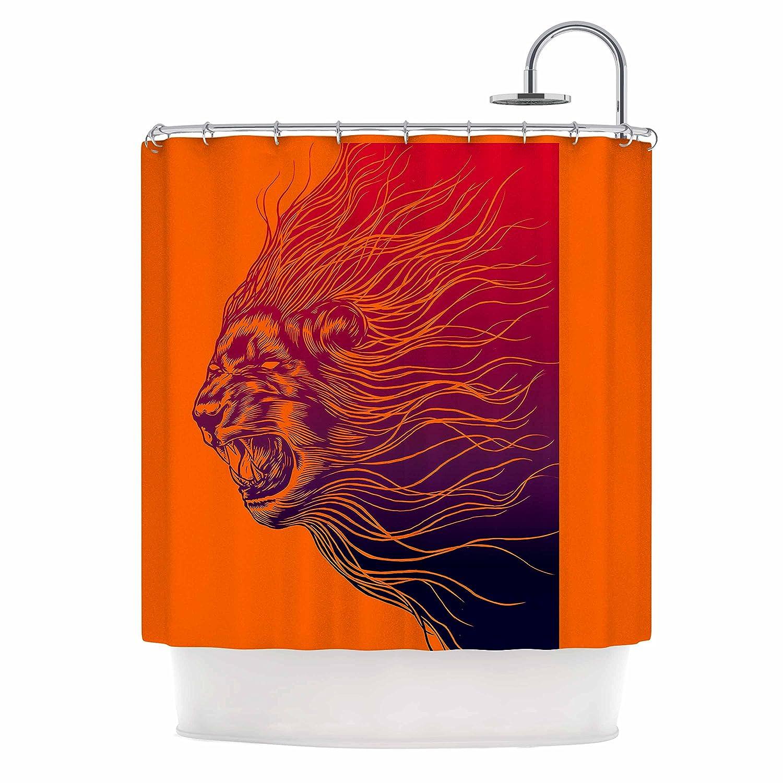 69 x 70 Shower Curtain Orange Animals Kess InHouse BarmalisiRTB Furious
