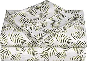 Swift Home Caribbean Joe Ultra-Soft Double Brushed 4-Piece Microfiber Sheet Set. Beautiful Tropical Patterns, and Vibrant Solid Colors, Luxury, All-Season Bed Sheet Set - Palm Leaves, Queen