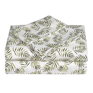 Caribbean Joe Ultra-Soft Double Brushed 4-Piece Microfiber Sheet Set. Beautiful Tropical Patterns Vibrant Solid Colors, Luxury, All-Season Bed Sheet Set - Palm Leafs, King
