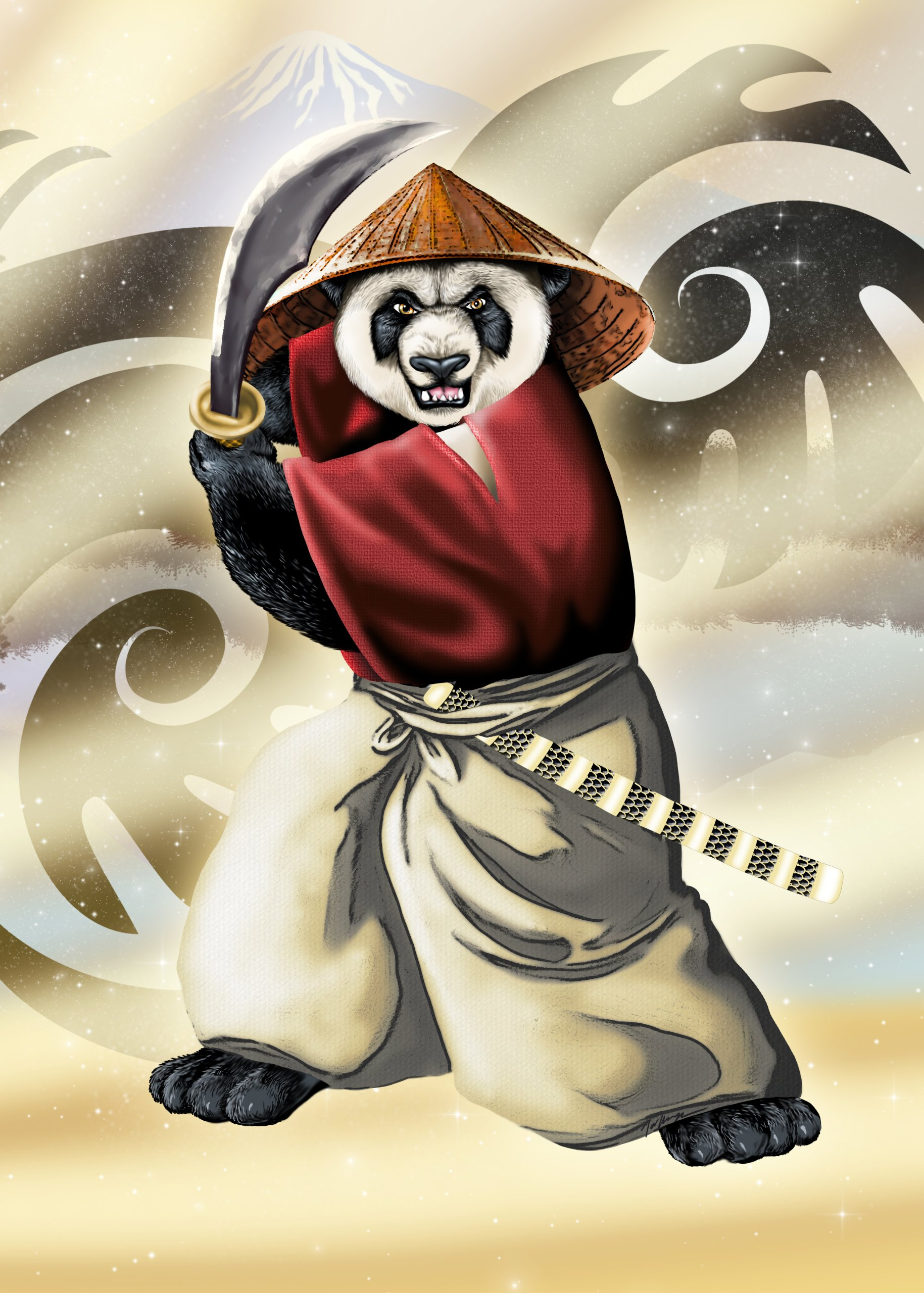 """Panda Warrior"" Bear Ninja w/ Sword & Hat"