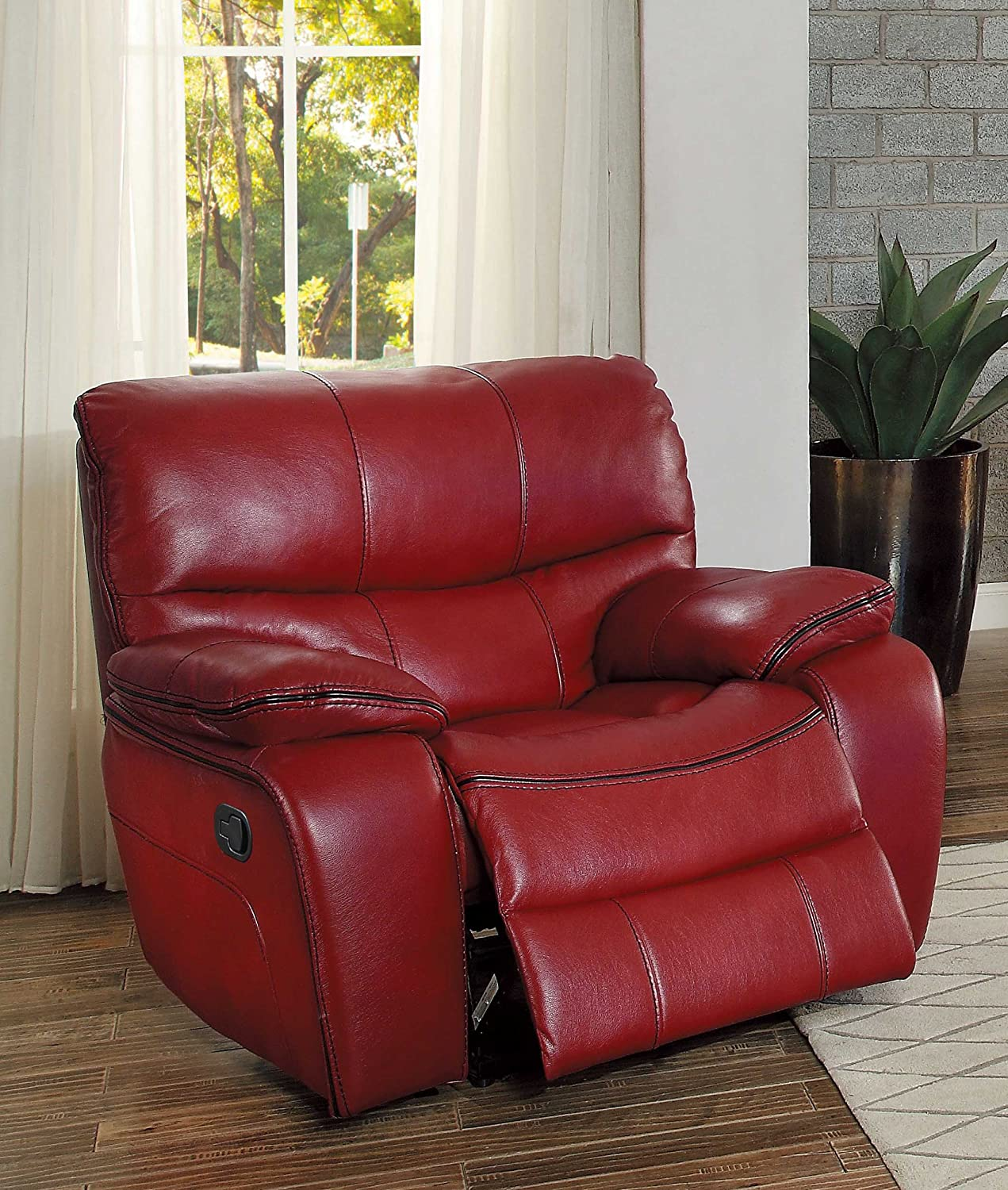 Homelegance Pecos Leather Gel Manual Glider Recliner, Red