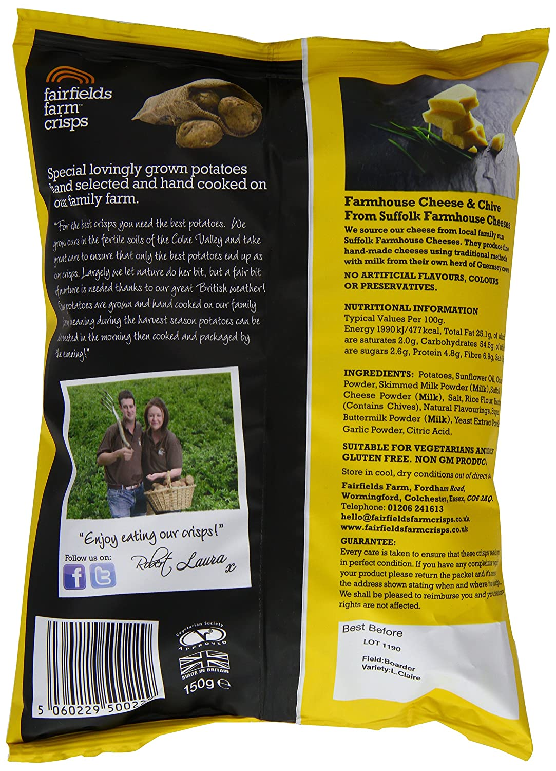Co colour care guernsey - Fairfields Farm Crisps Farmhouse Cheese And Chive 150 G Pack Of 12 Amazon Co Uk Grocery