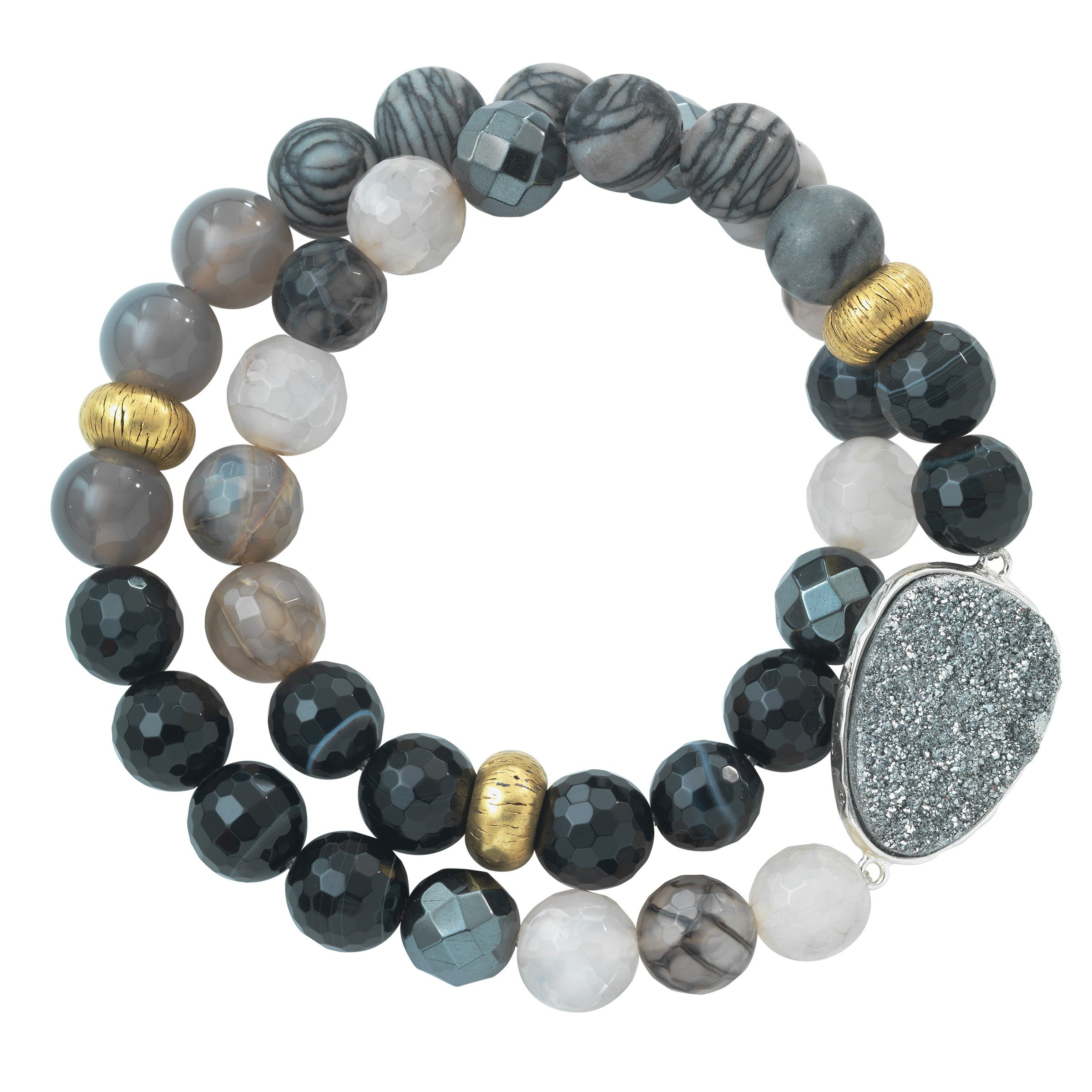 Silpada 'Ode To Geode' Natural Agate, Hematite, and Druzy Stretch Bracelet in Sterling Silver and Brass, 6.75''