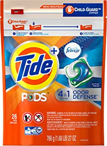 Tide PODS Plus Febreze, Sport Odor Defense Liquid Laundry Detergent Pacs, Active Fresh Scent, 26 Count